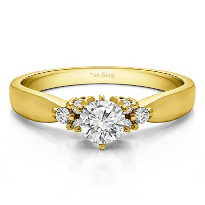 0.51 Ct. Round Engagement Ring with Cluster Sides in Yellow Gold