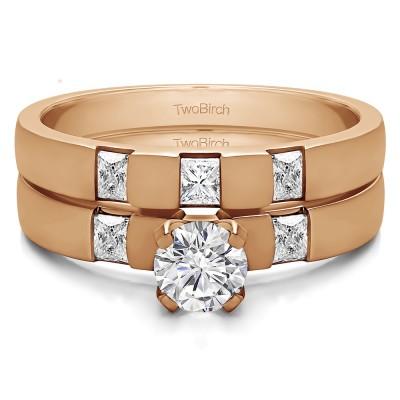 Three Stone Engagement Rings  Bridal Set (2 Rings) (0.8 Ct. Twt.)