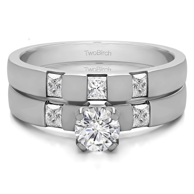 Three Stone Engagement Rings  Bridal Set (2 Rings) (0.8 Ct. Twt.)
