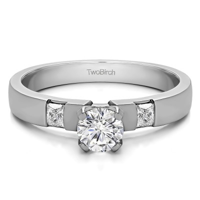 0.47 Ct. Round Three Stone Engagement Ring with Princess Side Stones
