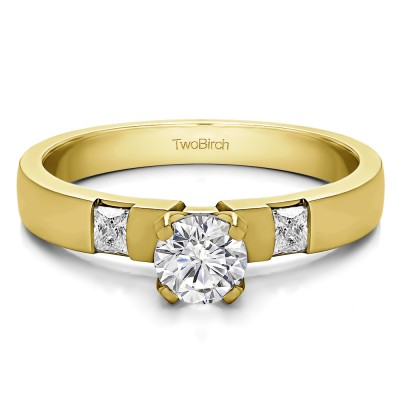 0.47 Ct. Round Three Stone Engagement Ring with Princess Side Stones in Yellow Gold