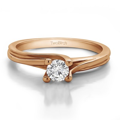 0.25 Carat Bypass Solitaire Engagement Ring in Rose Gold