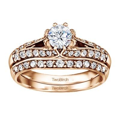 Knife Edged Engagement Ring Bridal Set (2 Rings) (1.11 Ct. Twt.)