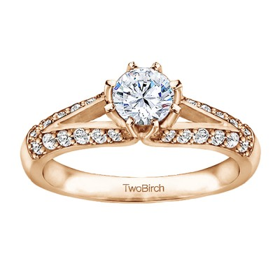 1 Ct. Round Split Knife Edged Shank Engagement Ring in Rose Gold