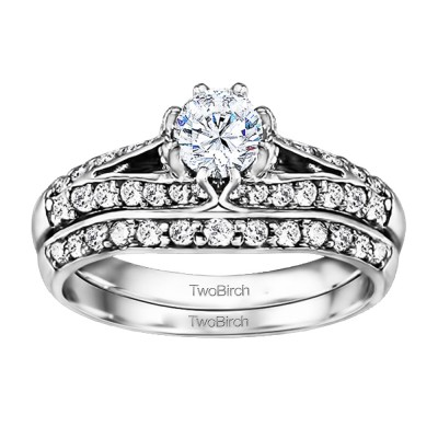 Knife Edged Engagement Ring Bridal Set (2 Rings) (1.11 Ct. Twt.)