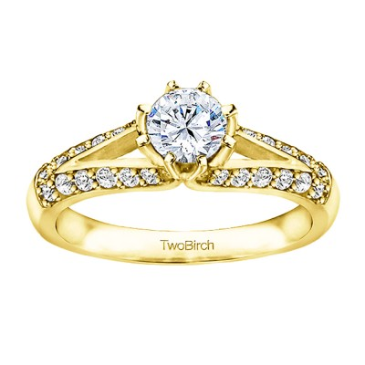 1 Ct. Round Split Knife Edged Shank Engagement Ring in Yellow Gold