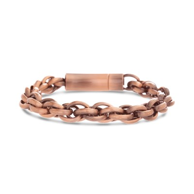 18k Rose Gold Plated Stainless Steel Rolo Chain Bracelet 8.5 Inches Long