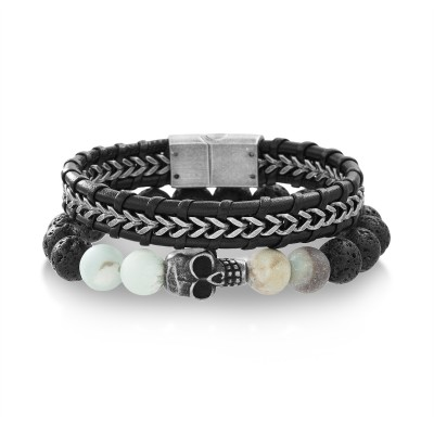 Oxidized Steel Two Tone Skull Head on Lava and Amazon Bead Bracelet and Black Leather Men's Bracelet (Two Bracelet Set)