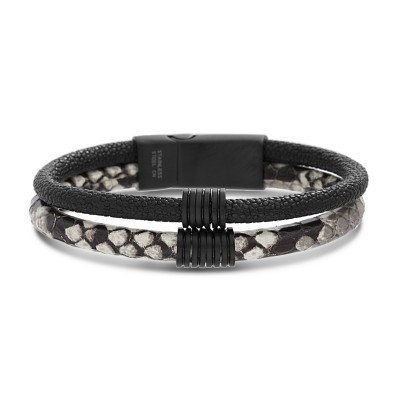 Black and White Snake PU Leather Men's Bracelet with SS Magnetic Clasp 8 Inches