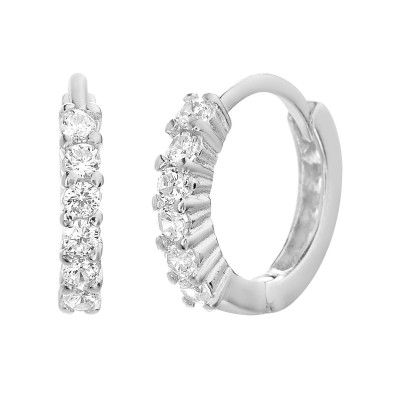 TwoBirch Round Prong Cubic Zirconia Huggie Hoops in 14k White Gold Plated Silver
