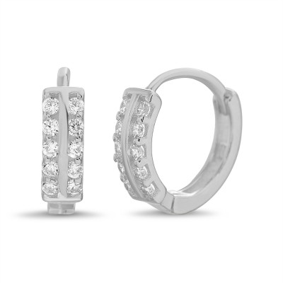 Round Double Row Prong Set Cubic Zirconia Huggie Hoop Earrings in 14k White Gold Plated Silver