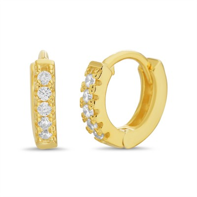 TwoBirch Round Prong Set Cubic Zirconia Huggie Hoop Earrings in 14k Yellow Gold Plated Silver