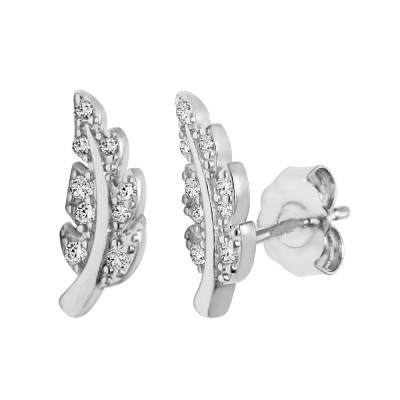 TwoBirch 18k White Gold over Sterling Silver Cubic Zirconia Leaf Designed Design Stud Earrings