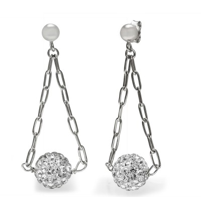 TwoBirch 18k White Gold over Sterling Silver Cubic Zirconia Disco Ball Drop Earrings