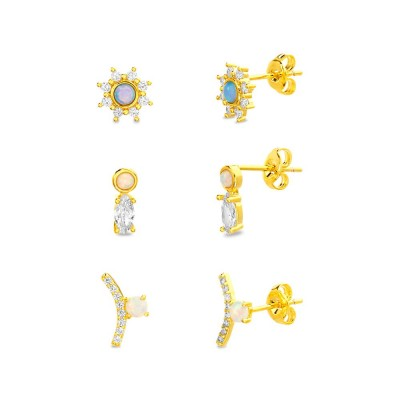 TwoBirch 18k Yellow Gold over Sterling Silver Cubic Zirconia Earring Trio Set (Three Pairs of Earrings) Opal Halo Studs Marquise and Bezel Opal Earrings Opal Curved Bar Earrings