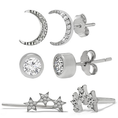 TwoBirch 18k White Gold over Sterling Silver Cubic Zirconia Round Bezel Stud Crescent Moon and Triple Shooting Star Earring Set Trio (THREE PAIRS OF EARRINGS)