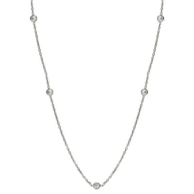 Sterling Silver 18 Inch Diamonds by the Yard Necklace with Cubic Zirconia 18 Inches