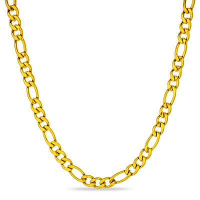 9 mm Figaro Chain Link Necklace for Men Boys Heavy 316L Gold Plated Stainless Steel Gold Color 24 Inch