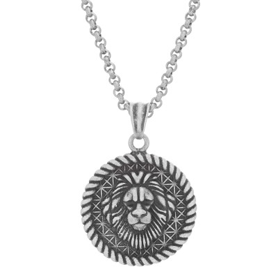 Lion Head Rope Border Pendant with Antiqued Finish on Adjustable Rolo Chain with Lobster Clasp