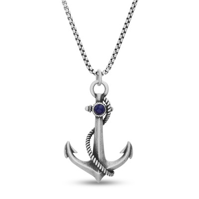Nautical Anchor Necklace for Men Stainless Steel Vintage Navy Anchor Pendant with Chain 24 Inches
