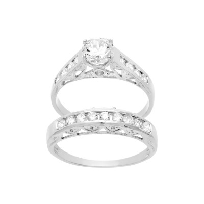 TwoBirch Vintage Bridal Set with 18k White Gold Plating over Solid Sterling Silver with AAA+ Cubic Zirconia