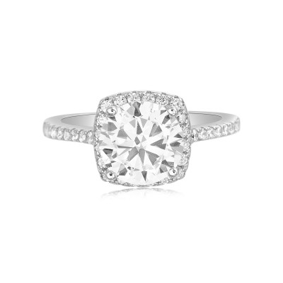 TwoBirch Classic Round Halo Solitaire Engagement Ring with 18k White Gold Plated Sterling Silver and Cubic Zirconia