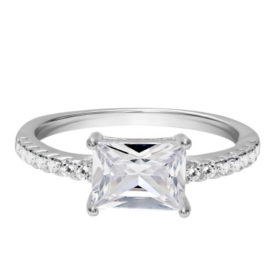 TwoBirch East West Baguette Cut Prong Set Engagement Ring in 18k White Gold Plated Sterling Silver and Cubic Zirconia