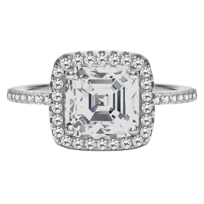 TwoBirch Halo Cushion Cut Prong Set Engagement Ring in 18k White Gold Plated Sterling Silver and CZ