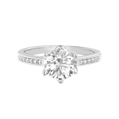 TwoBirch 18k White Gold Plated Sterling Silver Round Tulip Setting Cubic Zirconia Engagement Ring with Accent Side Stones