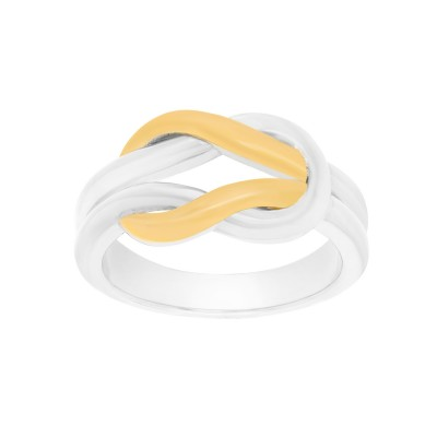 Solid Two-Tone Sterling Silver and 18k Yellow Gold Plated  Celtic Love Knot Promise Ring