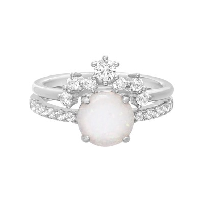 TwoBirch Opal Bridal Set with Tiara Contour Band Duo Ring Set with Cubic Zirconia Bezel Band in Sterling Silver