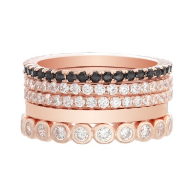 18k Rose Gold Plated 5 Eternity Stacking Ring Set - Five Ring Stacking Set -Cubic Zirconia Cool Stacking Set (FINGER SIZE 7)