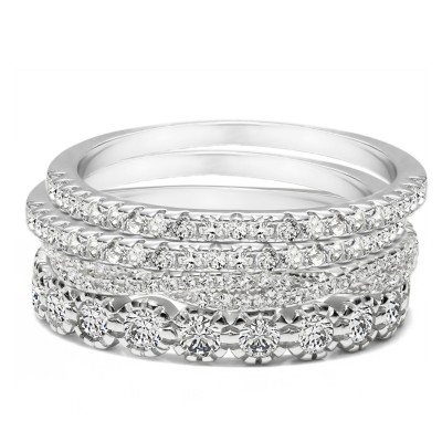 TwoBirch 18k White Gold Micro-plated 4-Piece Ring Set with Cubic Zirconia Stacking Ring Set