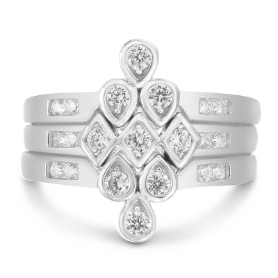 Sterling Silver V Shaped Round Trio Ring Stack with Cubic Zirconia