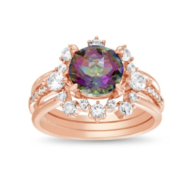 Rose Gold Plated Mystic Topaz Simulant Cubic Zirconia Floral Design Round Engagement Ring Bridal Set Trio Ring Stack