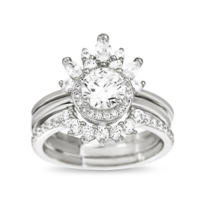 Sterling Silver Cubic Zirconia Delicate Floral Tiara Design Border Ring Guard Round Halo Engagement Ring