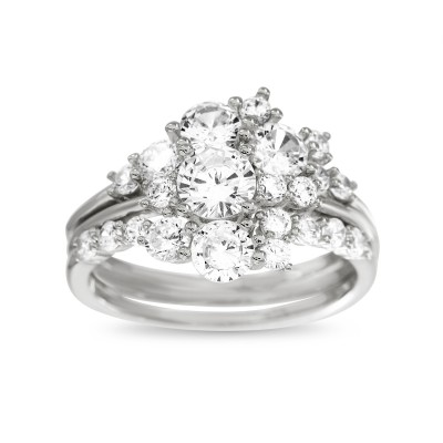 Floral Design Ying Yang Ring Guard and Engagement Ring Bridal Set (2 Rings)