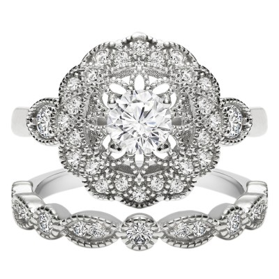 TwoBirch 18k White Gold Microplated Art Deco Floral Design Duo Bridal Ring Set Engagement Ring and Wedding Band with Cubic Zirconia (SET (2 RINGS)