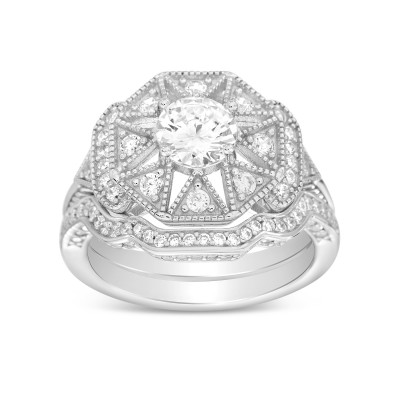 Art Deco Sterling Silver Cubic Zirconia  Antique Halo Engagement Ring