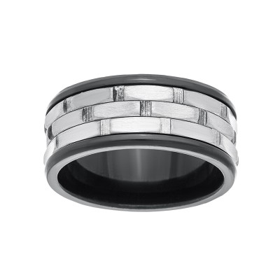 8 MM Wide Men's Spinner Ring with Black High polish Edges and Brushed Center in Rhodium Plated Stainless Steel