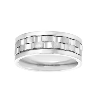 8 MM Wide Men's Spinner Ring with High polish Edges and Brushed Center in Rhodium Plated Stainless Steel