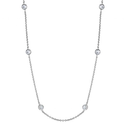 Sterling Silver 36 Inch Diamonds by the Yard Necklace with Cubic Zirconia