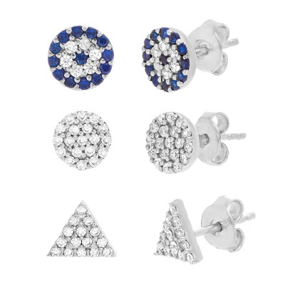 TwoBirch 18k White Gold over Sterling Silver Cubic Zirconia Earring Trio Set (Three Pairs of Earrings) Triangle Trio Set
