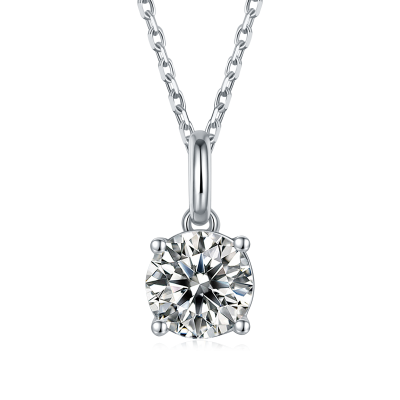 TwoBirch 1 Carat Moissanite Round Solitaire Pendant in Platinum Plated Sterling Silver (CERTIFIED, Size 7)