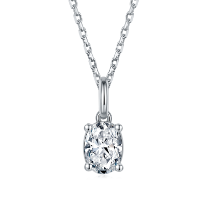 TwoBirch 1 Carat Moissanite Oval Solitaire Pendant in Platinum Plated Sterling Silver (CERTIFIED, Size 7)