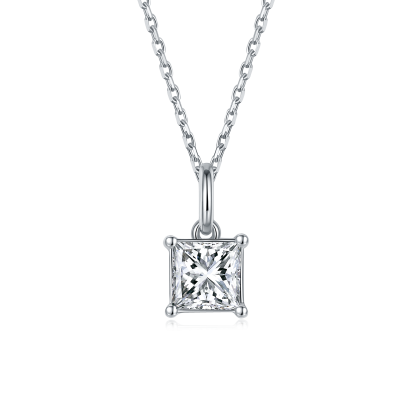 TwoBirch 1 Carat Moissanite Princess Solitaire Pendant in Platinum Plated Sterling Silver (CERTIFIED, Size 7)