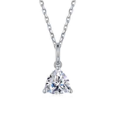 TwoBirch 1 Carat Moissanite Trillion Solitaire Pendant in Platinum Plated Sterling Silver (CERTIFIED, Size 7)