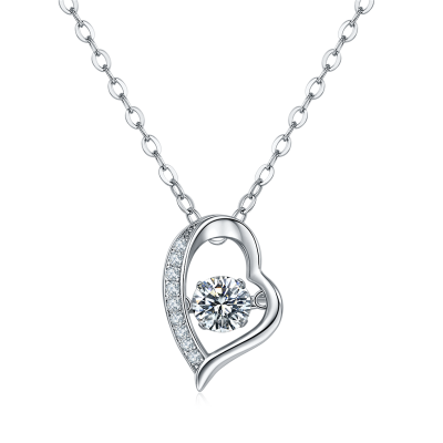 Platinum Plated Sterling Silver Moissanite Heart Pendant with Floating Center Stone and Moissanite Accents on 18