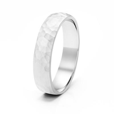 5 Millimeter Wide Hammered Finish 14 Karat Gold Men's ring