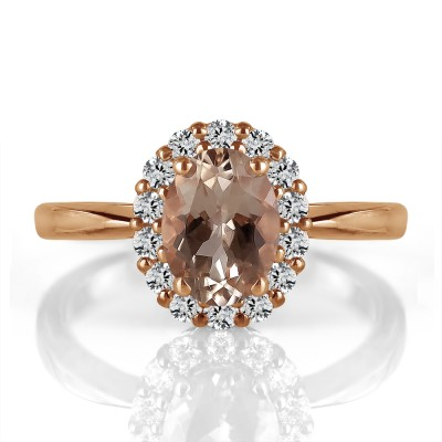 14k Rose Gold Oval Morganite and Diamond Ring